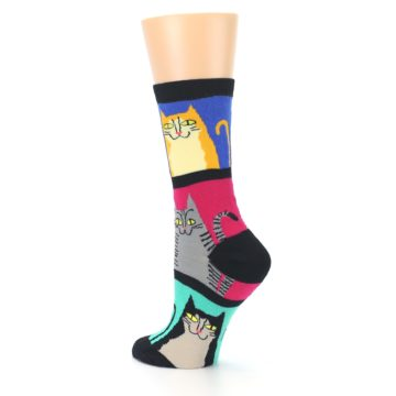 Image of Black Color Block Cats Women's Dress Socks (side-2-back-14)