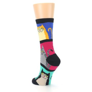 Image of Black Color Block Cats Women's Dress Socks (side-2-back-15)