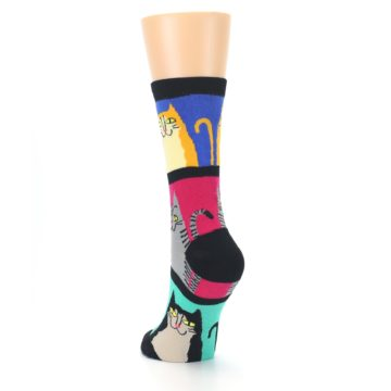 Image of Black Color Block Cats Women's Dress Socks (side-2-back-16)