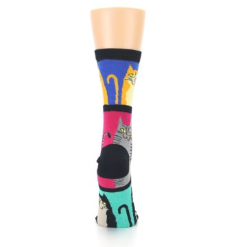 Image of Black Color Block Cats Women's Dress Socks (back-19)