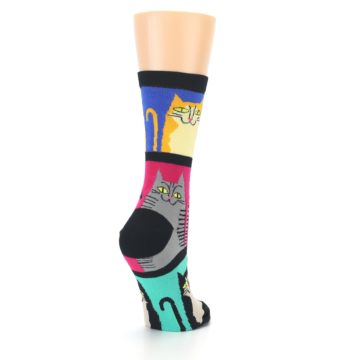 Image of Black Color Block Cats Women's Dress Socks (side-1-back-21)