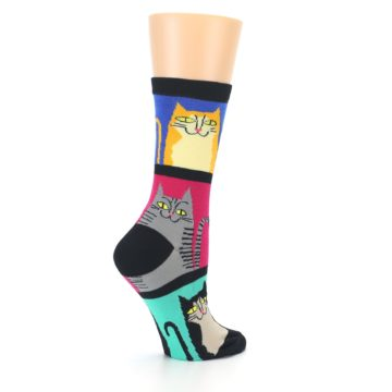 Image of Black Color Block Cats Women's Dress Socks (side-1-23)