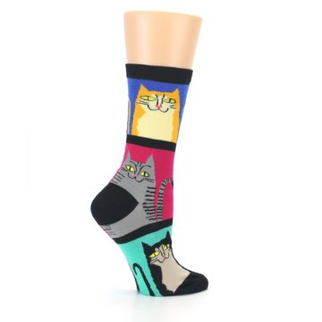 Image of Black Color Block Cats Women's Dress Socks (side-1-24)
