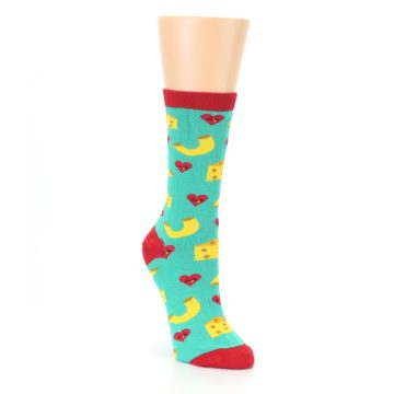Image of Green Yellow Mac n Cheese Women's Dress Socks (side-1-front-02)