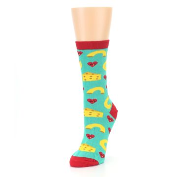 Image of Green Yellow Mac n Cheese Women's Dress Socks (side-2-front-08)