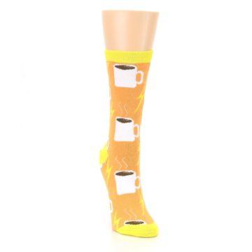 Image of Orange White Coffee Cups Women's Dress Socks (side-1-front-03)