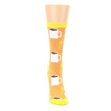 Image of Orange White Coffee Cups Women's Dress Socks (front-04)