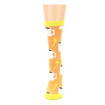 Image of Orange White Coffee Cups Women's Dress Socks (side-2-front-06)