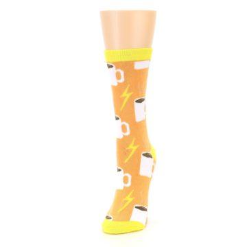 Image of Orange White Coffee Cups Women's Dress Socks (side-2-front-07)