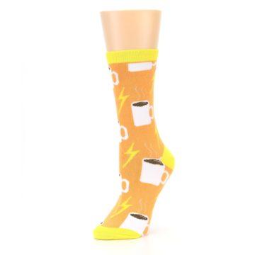 Image of Orange White Coffee Cups Women's Dress Socks (side-2-09)