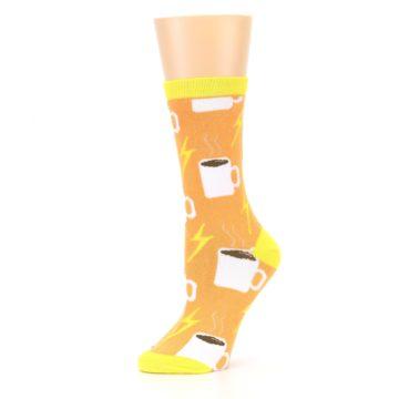 Image of Orange White Coffee Cups Women's Dress Socks (side-2-10)