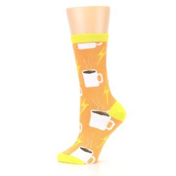 Image of Orange White Coffee Cups Women's Dress Socks (side-2-12)