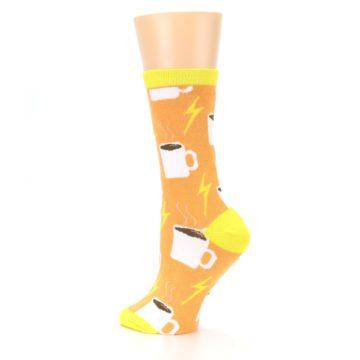 Image of Orange White Coffee Cups Women's Dress Socks (side-2-back-14)
