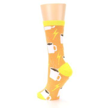Image of Orange White Coffee Cups Women's Dress Socks (side-2-back-15)