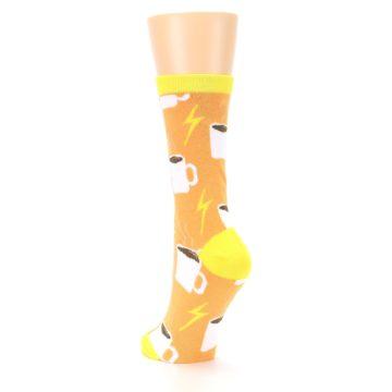 Image of Orange White Coffee Cups Women's Dress Socks (side-2-back-16)
