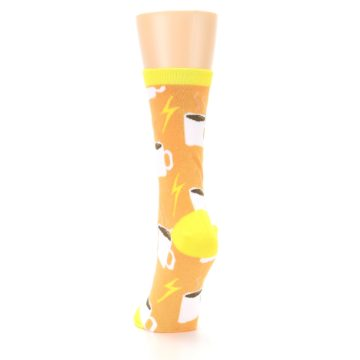 Image of Orange White Coffee Cups Women's Dress Socks (back-17)