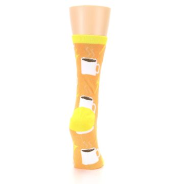Image of Orange White Coffee Cups Women's Dress Socks (side-1-back-20)