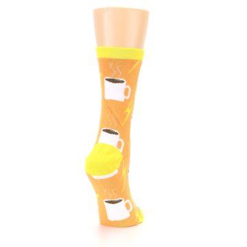 Image of Orange White Coffee Cups Women's Dress Socks (side-1-back-21)