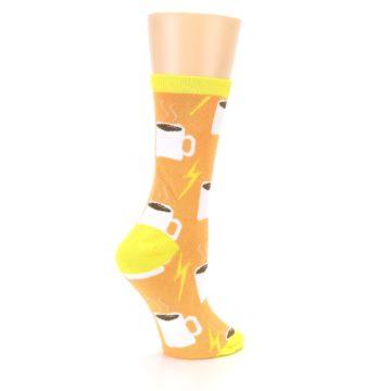 Image of Orange White Coffee Cups Women's Dress Socks (side-1-23)
