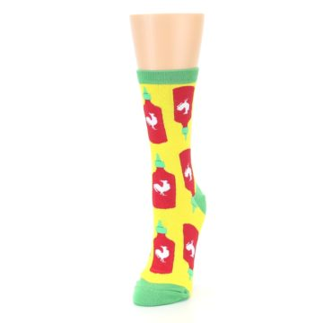 Image of Yellow Red Hot Sauce Women's Dress Socks (side-2-front-07)