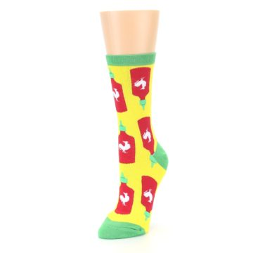 Image of Yellow Red Hot Sauce Women's Dress Socks (side-2-front-08)