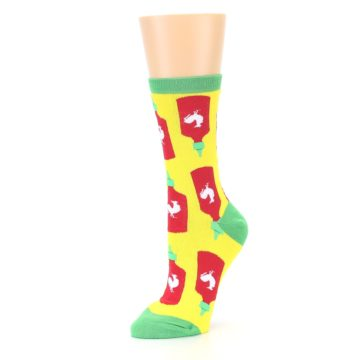 Image of Yellow Red Hot Sauce Women's Dress Socks (side-2-09)