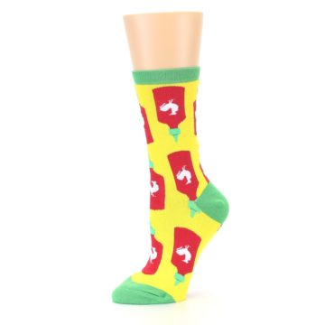 Image of Yellow Red Hot Sauce Women's Dress Socks (side-2-10)