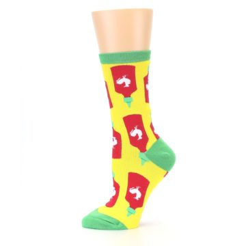 Image of Yellow Red Hot Sauce Women's Dress Socks (side-2-11)