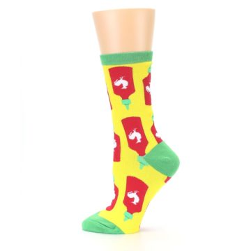Image of Yellow Red Hot Sauce Women's Dress Socks (side-2-12)