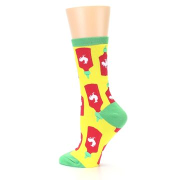 Image of Yellow Red Hot Sauce Women's Dress Socks (side-2-13)