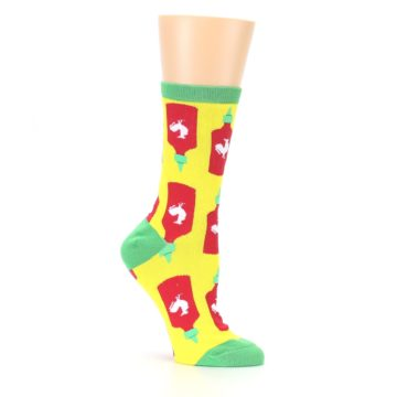 Image of Yellow Red Hot Sauce Women's Dress Socks (side-1-26)
