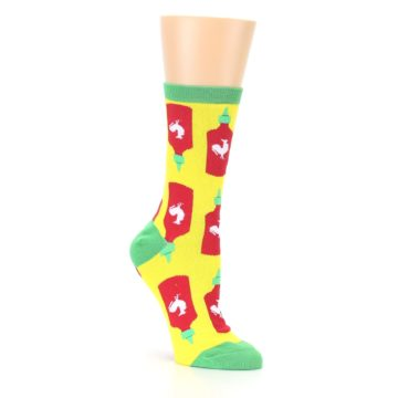 Image of Yellow Red Hot Sauce Women's Dress Socks (side-1-27)
