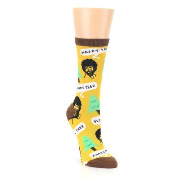 Image of Yellow Bob Ross Happy Tree Women's Dress Socks (side-1-front-02)