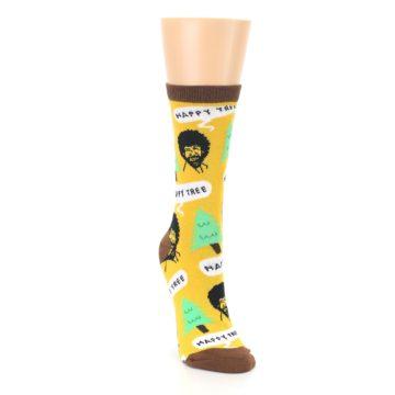 Image of Yellow Bob Ross Happy Tree Women's Dress Socks (side-1-front-03)
