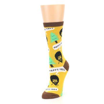 Image of Yellow Bob Ross Happy Tree Women's Dress Socks (side-2-front-08)