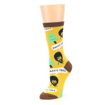 Image of Yellow Bob Ross Happy Tree Women's Dress Socks (side-2-09)