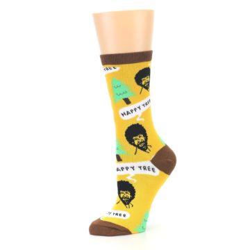 Image of Yellow Bob Ross Happy Tree Women's Dress Socks (side-2-10)