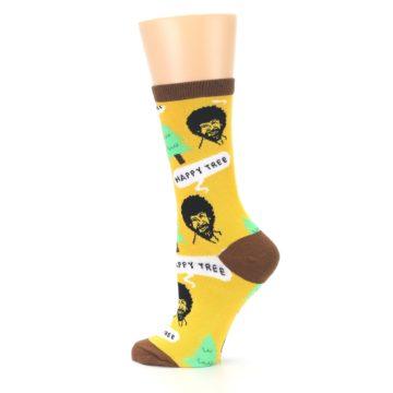 Image of Yellow Bob Ross Happy Tree Women's Dress Socks (side-2-13)