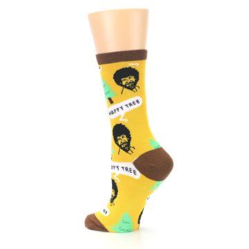 Image of Yellow Bob Ross Happy Tree Women's Dress Socks (side-2-back-14)