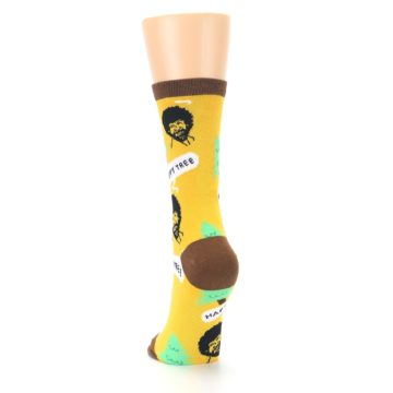 Image of Yellow Bob Ross Happy Tree Women's Dress Socks (back-17)