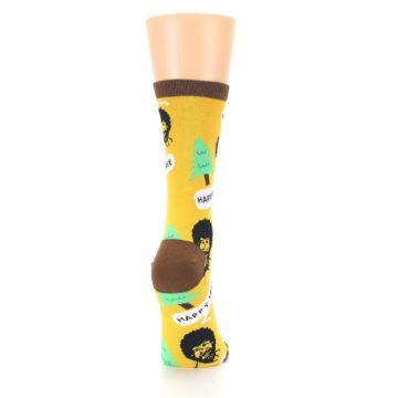 Image of Yellow Bob Ross Happy Tree Women's Dress Socks (side-1-back-20)