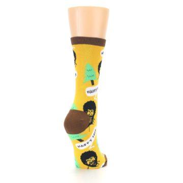 Image of Yellow Bob Ross Happy Tree Women's Dress Socks (side-1-back-21)