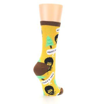 Image of Yellow Bob Ross Happy Tree Women's Dress Socks (side-1-back-22)