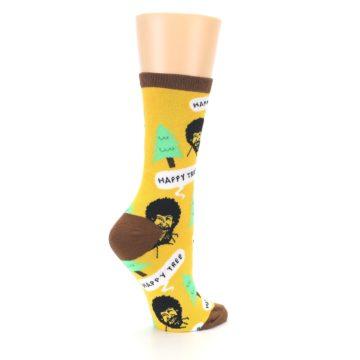 Image of Yellow Bob Ross Happy Tree Women's Dress Socks (side-1-23)