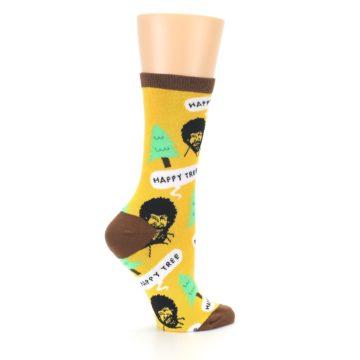 Image of Yellow Bob Ross Happy Tree Women's Dress Socks (side-1-24)