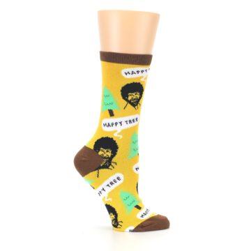 Image of Yellow Bob Ross Happy Tree Women's Dress Socks (side-1-25)