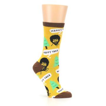 Image of Yellow Bob Ross Happy Tree Women's Dress Socks (side-1-26)
