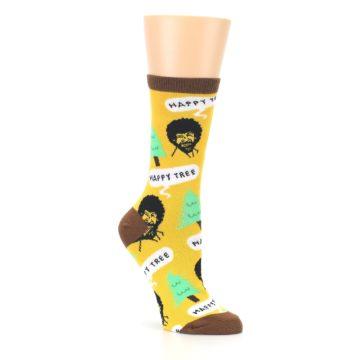 Image of Yellow Bob Ross Happy Tree Women's Dress Socks (side-1-27)