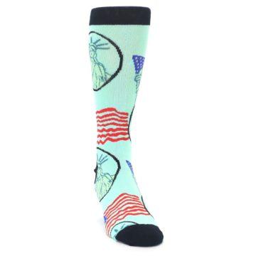 Image of Mint Black Lady Liberty Men's Dress Socks (side-1-front-03)