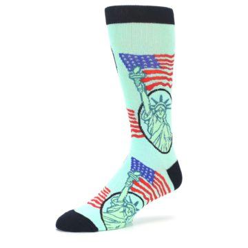 Image of Mint Black Lady Liberty Men's Dress Socks (side-2-09)